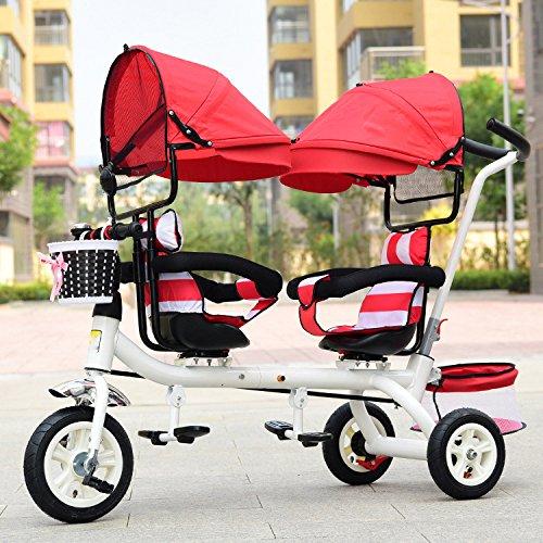 LZTET Zwillinge Drei Rad Kinderwagen Kinderwagen Faltbare und Multifunktionale Kinderwagen Kinderwagen Auto Anwendbare Alter 1-6 Jahre Alt,C