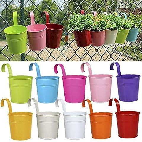 Ogima® (10 PC) Métal Fer Pots de Fleurs Suspendu Balcon Jardin Home Decor