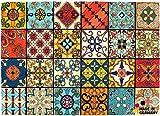 matches21 Fußmatte Fußabstreifer Marokko Retro Mosaik Essence 50x70x0,5 cm Rutschfest maschinenwaschbar