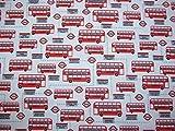 Rot Bus Polycotton Stoff Kleid/Craft Stoff–112cm