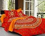 SheetKart Sapphire Cotton Double Bedsheet With 2 Pillow Covers - Fine Red