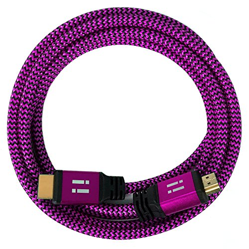 [i!] 1m Premium Nylon High Speed HDMI Kabel [Neuste Generation] kompatibel mit HDMI 2.0 - 2.0a/b - 1.4a | 3D 4K Ultra HD 2160p Full HD 1080p Highspeed Ethernet ARC HDR CEC DTS-HD | pink