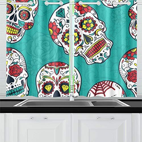 Jsxmna tende da morto colorate zucchero floreale tende da cucina finestra tende per tende per caffè, bagno, lavanderia, soggiorno camera 26 x 39 pollici 2 pezzi