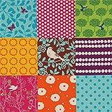 echino Fabrics Orange und Lila Wachstuch mit Quadraten von
