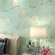 Paredes de dormitorio living comedor rural papel pintado no tejido cálido papel pintado retro americano flor romántica , yellow green sh-10080
