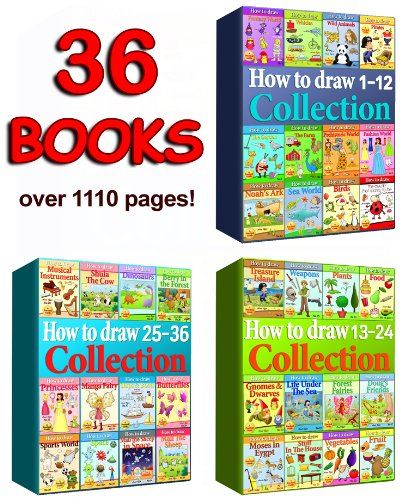 How to Draw Collection 1-36 Books (Over 1110 Pages) (How to Draw Collections Book 7) (English Edition)