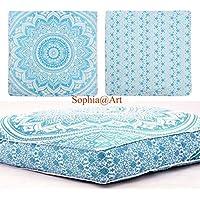 Preisvergleich für Sophia Art Ombre Mandala mit Handmade Sitzkissen Lounge Sitz Hocker Kissenbezug Indisches, osmanischen Pouf-Kissen (grün)