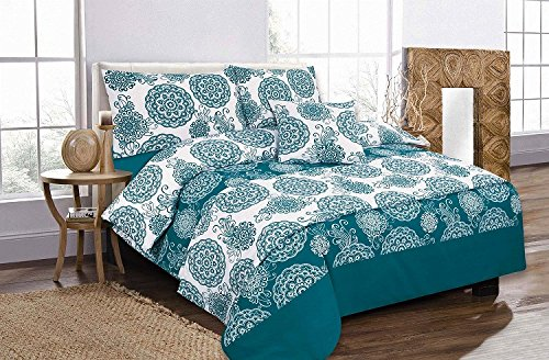 GB Textilien 5Stück Bett in einer Tasche Megan Floral Abstract Blaugrün Bettwäsche Set Bettbezug Kissenbezüge Betten Doppelbett (Tröster London Set)