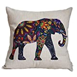 Elviros Dekorativ Baumwoll Leinen Mix Kissenbezug 45 x 45cm - Bunter Elefant