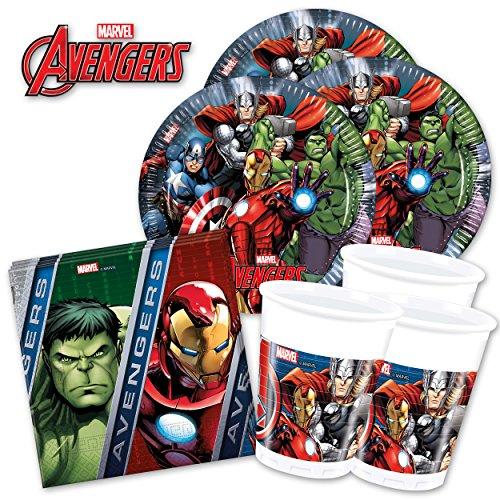 MARVEL's Avengers Power PartyBox - für Mottoparty & Geburtstag Party Set (Basic für 16 Gäste - 52-tlg.)