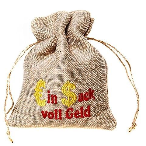 LOLLIPOP® 1 Stück Jute-Beutel '€in $ack voll Geld', Maße: ca. 12 x 16,5 cm