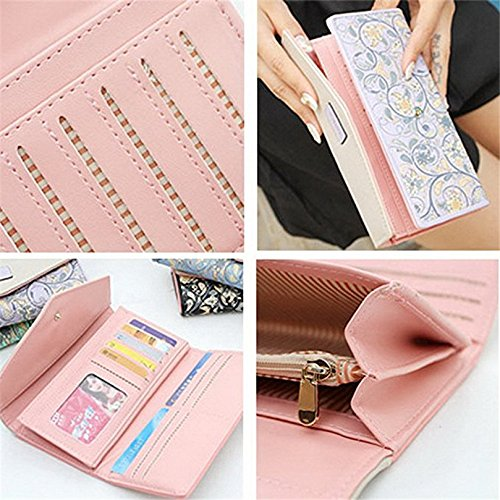 Kfnire sacchetto lungo della borsa della borsa della borsa del tasto floreale della borsa del raccoglitore delle donne (rosa) viola