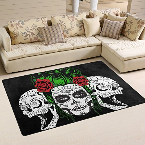 yibaihe, leicht, bedruckt mit Deko-Teppich, Teppich, modern Totenkopf mit roten Blumen wasserabweisend stoßfest. Für Wohn- und Schlafzimmer, 153 x 100 cm -