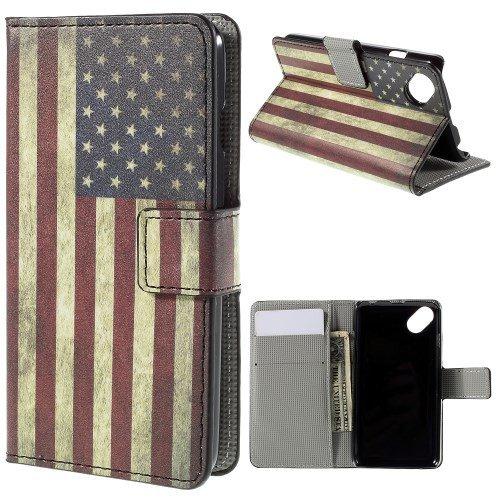 jbTec® Flip Case Handy-Hülle zu Wiko Sunset 2 / Sunny - Book Motiv - Handy-Tasche Schutz-Hülle Cover Handyhülle Ständer Bookstyle Booklet, Motiv/Muster:USA Flag