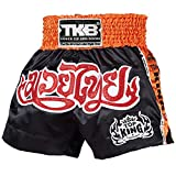 KINGTOP Top King Muay Thai Pantalones Cortos, tktbs de 044, Negro Boxing Thai Kickboxing Short Pantalones, Medium