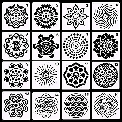 Homclo 16 stücke Mandala Schablone Template Set Punktierung Malerei Werkzeug für Airbrush Möbel Bodenfliesen Wände Kunst