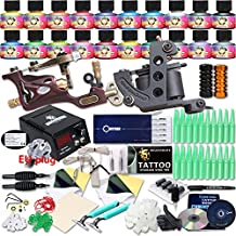 Professional Great tattoo Starter Tattoo Kit Machines 20 Color Inks Top CE Power Supply DIY285ADE