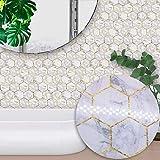 DMZH 100 STÜCKE White Hexagon Marble Style Fliesen Aufkleber Dekorative Aufkleber Reise Aufkleber Kreative Rutschfeste Selbstklebende Wandtattoos Floor Sticker,B15cm*15Cm