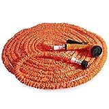 125FT Gartenschlauch Wasserrohr erweiterbar 7 Modi Spritzpistole Elastizität teleskopisch (Orange)