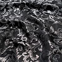 Stoff Polyester Jacquard Ornament Schwarz Silber Lurex Silberbrokat Barock 300 Cm