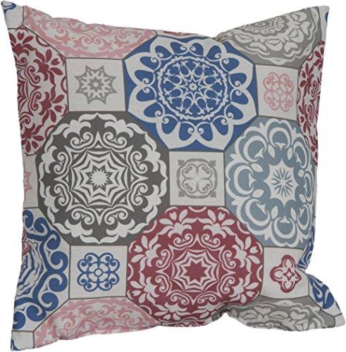 Gartenstuhl-Kissen Lounge Sitzkissen Kissen Stuhlkissen Sesselkissen ca. 40x40 cm indisches Mandala Motiv rot blau beige