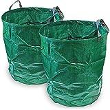CampTeck 2x 500 Liter Gartensäcke Polypropylen-Gewebe Gartenabfallsäck Wiederverwendbar Laubsack Faltbar Abfallsack
