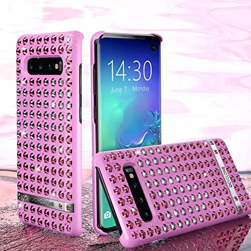 OCYCLONE Galaxy S10 Hülle, Liebesherz Glitzer Bling Diamante Strass Galaxy S10 Schützhülle für Mädchen Frauen, Glitzer Handyhülle für Samsung Galaxy S10 [6.1 Zoll] Rosa -