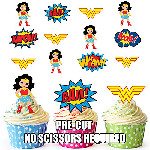 Vorgeschnittener Wonder Woman Superheld - Essbare Cupcake Topper / Kuchendekorationen (36 Stück) (Wonder Woman-party Dekorationen)