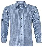 ISAR Trachten Kinder Trachtenhemd Martin - Marineblau - Kariertes Hemd für Jungen Zu Lederhose Oder Jeans an Oktoberfest Oder Kirchweih