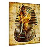 Bilderdepot24 Kunstdruck - Pharao - Ägypten - Bild auf Leinwand - 50 x 60 cm - Leinwandbilder - Bilder als Leinwanddruck - Wandbild Städte & Kulturen - Afrika - altes Ägypten - Pharaonenmaske
