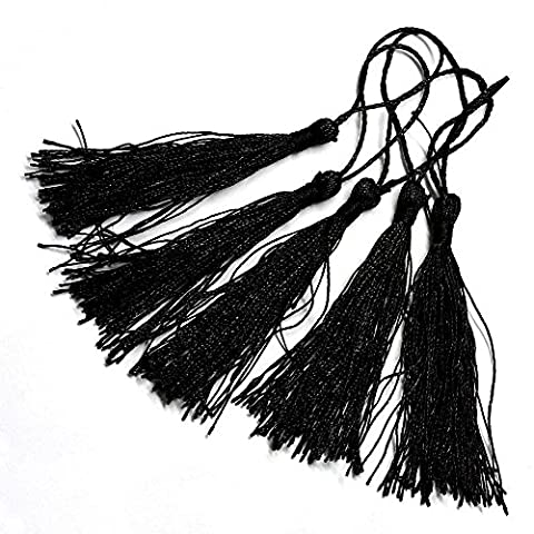 Angel Malone ® 10 x 13cm Luxury Silky Tassels Trimmings - Crafts Sewing Decoration Costume (Black)