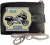 BMW R1200 Image sur portefeuille RFID pour hommes de marque KLASSEK vrai cuir avec chaîne Moto Bike cadeau d'accessoire avec boîte en métal produit BMW Non officiel