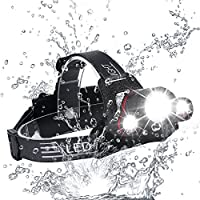 Zukvye LED Head Torch, Super Bright 5000 Lumens Rechargeable Headlamp, 4 Modes, Zoomable Waterproof Headlight Perfect for Running, Walking, Camping, Reading, Hiking(include 2 * 18650batteries)