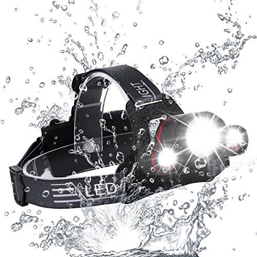 Superheller LED Stirnlampe, Zukvye Wiederaufladbare LED Kopflampe, 5000 Lumen zoombaren wasserdichter Stirnlampe ,4 Helligkeits-Modi. Perfekt zum Laufen, zum Campen, zum Wandern und zum Spazierengehen.