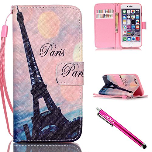 iPhone 6/6S Hülle, Slim Retro PU Leder Bookstyle Hülle Tasche Flip Wallet Case mit Strap Portable Handytasche Anti-Scratch Shell Cash Pouch ID Card Slot Magnetverschluss Etui Soft Silikon für Apple iP Turm