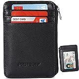 RFID bloqueo seguro cartera de mini y RFID bolsillo frontal de piel auténtica Funda tipo cartera, mejor protección para sus tarjetas de crédito, color negro