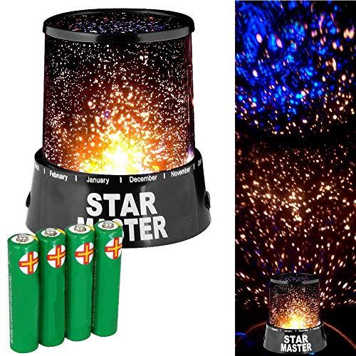 Vinciann Lampe Lumière projecteur étoiles Ciel étoilé Chambre Nuit LED + 4 x Piles AA