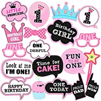 Party Propz 19Pcs 1st Birthday Decorations Girl Photo Booth Props For Girls Birthday Photo Booth, 1st Birthday Decorations Girl