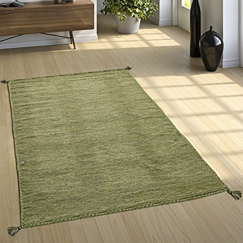 Alfombra Diseño Kilim Tejida A Mano 100% Algodón Moderna Jaspeada Verde, tamaño:80x150 cm