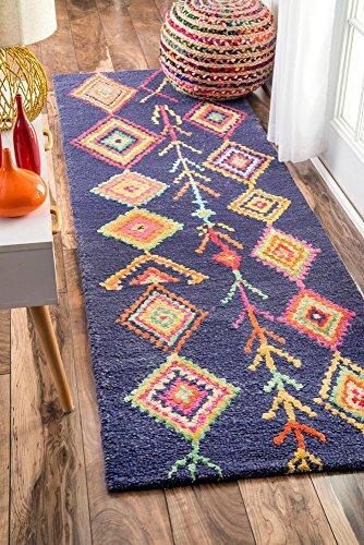 nuLOOM Bohemian Marokkanische Teppiche, Wolle, Navy, 2' 6