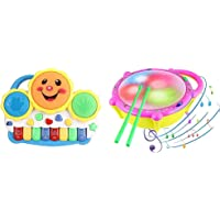 Popsugar Smiley Piano and Keyboard Musical Set with Lights for Kids, Blue & Popsugar Flash Drum with Sticks - Pink and Yellow