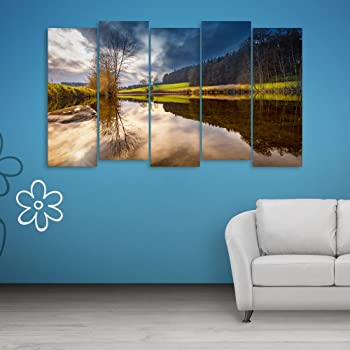 Inephos Multiple Frames Beautiful Nature Scenery Wall Painting (150cm X 76cm)
