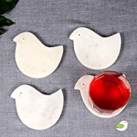 Ecstassy Handcrafted Bird Shaped White Marble Coasters for Table| Stone Coaster Set for Dining Table and Bar | Marble Cocktail Coasters | Wine Coaster | Bird Coaster | Designer Coaster