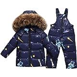 Niño Niña Conjunto de Esquí, Chaqueta con Capucha + Pantalón de Esquí 2 Piezas Impermeable Traje de Nieve Traje de Esquí Abri