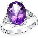 3.83CT Purple Gemstone Split Shank Zircon Oval Statement Ametista Anello per donne 925 Sterling Argento Febbraio Birthstone