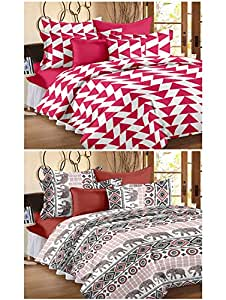 Story@Home 120 TC 100% Cotton Set Of 2 Double Bedsheet With 4 Pillow Cover Pink & Peach