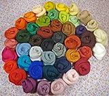 Filzwolle - 45 Knäule - 45 Farben zum Trockenfilzen und Nassfilzen, ca. 500gr. bunte Farben zum filzen -