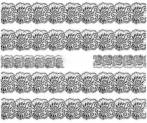 Nail art manucure stickers ongles décalcomanie scrapbooking: 5 bandes fleuries dentelle