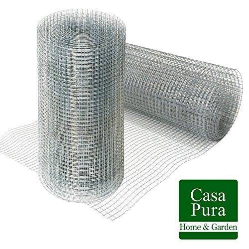 Grillage pour jardin casa pura® clôture zingué | tailles au choix | maille carré de 12,7mm | résistant aux intempéries | bricolage, 50cmx10m