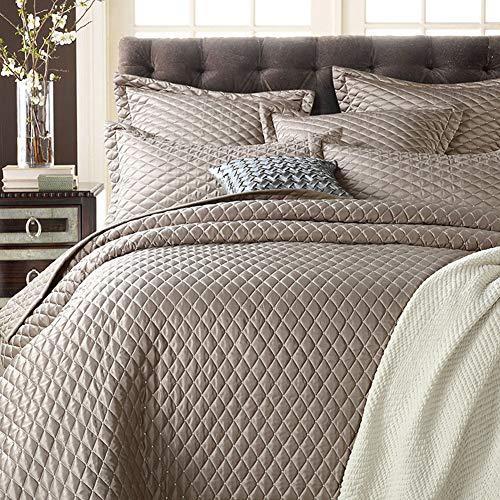 Gestickte Imitierte Seide Satin & Baumwolle Gesteppt Tagesdecke und 2 Kissenbezug, Doppelseitig Reversibel Bettdecke,200x230cm(79x91inch) -
